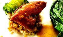 フォアグラのステーキと雑穀米添え 脳細胞の代謝機能を高める白味噌のソース
